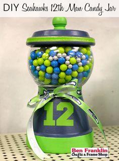 DIY Seahawks 12th Man Candy Jar   #crafts #Tutorial