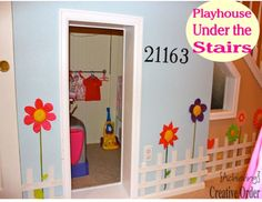 Organized Playroom-Playhouse Under the Stairs