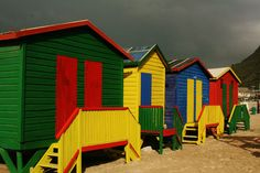 Iconic beach huts on False Bay beaches in Cape Town James Beach, Beach Huts, Cape Town, Places Ive Been, Beaches, Shed, Outdoor Structures, Lean To Shed, Beach Cottages