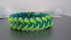 Bracelet paracorde dans les tons turquoise/vert clair tressage dents de requin : Bijoux pour hommes par bijoutez-moi