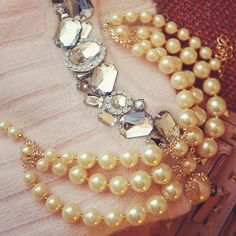 Women Elegant Multi-Layer Gold Plated Chain Necklace Round Faux Pearl Wedding