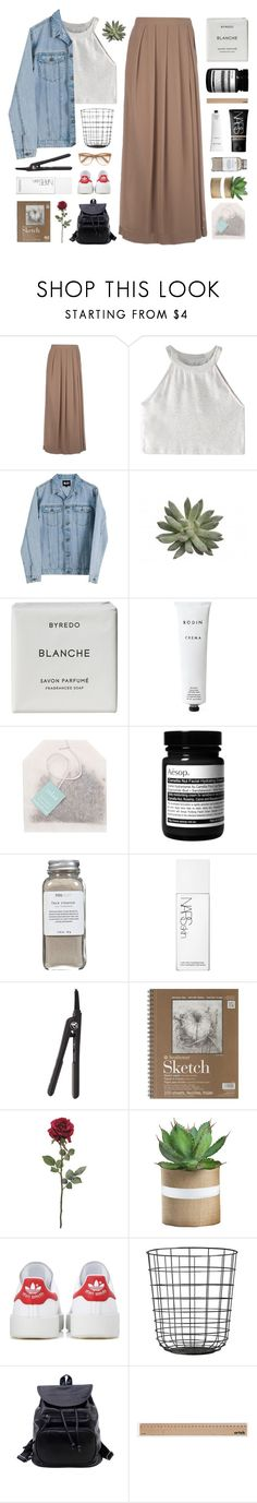 """""""– you gotta leave before you get left"""" by neutral-bunny ❤ liked on Polyvore featuring So Nice, WithChic, Cheap Monday, NARS Cosmetics, Byredo, Rodin, Paper Source, Aesop, Très Pure and Royale"""