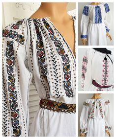 Ethnic Outfits, Folk Embroidery, Folk Fashion, Traditional Outfits, Kimono Top, Costumes, Sewing, Romania, Shirts