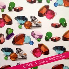 Fun Hip Preppy Colorful Give A Girl Rocks Greeting by effiespaper, $4.50