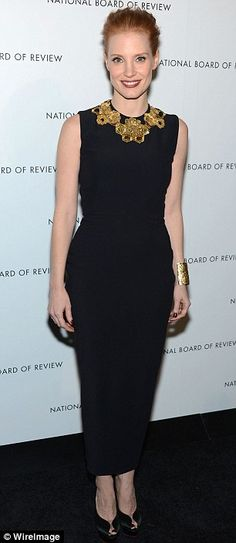 Jessica Chastain in form-fitting Alexander McQueen at the National Board of Review Awards Gala