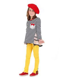Black Stripe Tunic & Yellow Pants - Toddler & Girls by Roberto Toscani #zulily #zulilyfinds