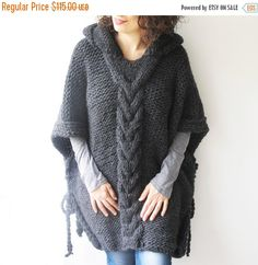 20% WINTER SALE Dark Gray Plus Size Cable Knit Poncho with Hoodie  by Afra