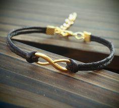Gold Infinity Bracelet Single Bracelet-Brown Quality Leather Bracelet-Men Women Gift-Best Friendship Jewelry Gift