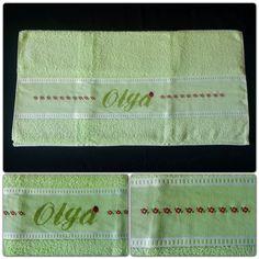 Olga's lime cross stitch body bath towel. 100 % cotton - All designs are customized as per customer request - jymcreations@gmail.com - #Handmade #Crossstitch #Crafts #Bodytowel #Bathtowel