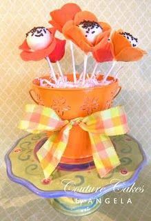 Flower cake pops for Miss A's cake. poppys