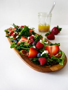 Mixed Berry Salad with Champagne Vinaigrette / / Freutcake / / Sub bleu cheese and add red onion