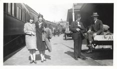 Flappers At The Railroad Station 1920's Snapshot Vacation Trip Stylish Hats Coats Shoes Train Conductor Black & White Photo Vintage Beach Photos, Black White Photos, Black And White, Marcel Waves, T Strap Shoes, Louise Brooks, Beach Boardwalk, Stylish Hats, My Wife Is