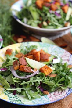 Creamy Kale and Arugula Salad with roasted sweet potato