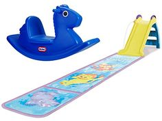 Little Tikes Rocking Horse, Blue and Little Tikes Wet and Dry First Slide with Slip Mat, Bundle ** Want to know more, click on the image.