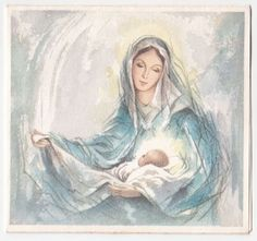 Vintage Greeting Card Christmas Glittered Madonna & Child Baby Jesus Mary White Blessed Mother Mary, Blessed Virgin Mary, Catholic Art, Religious Art, Mary Tattoo, Images Of Mary, Queen Of Heaven, Mama Mary, Sainte Marie