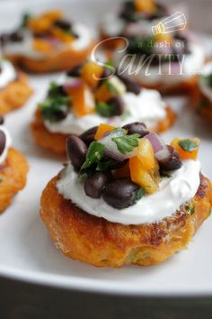 Sweet Potato Cakes with Black Bean Salsa from A Dash of Sanity #Thanksgiving #appetizer