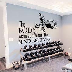 Wall Decals Quotes Sport The Body Achieves Gym Bedroom Decal Vinyl Decor DA3792 #STICKALZ #MuralArtDecals
