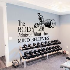 Wall Decals Quotes Sport The Body Achieves Gym Bedroom Decal Vinyl Decor DA3792 #STICKALZ #MuralArtDecals
