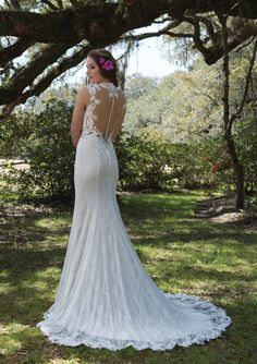 Justin Alexander 6168 - Lace Gown with Cutout Waist and Queen Anne Neckline | Sweetheart Off the Rack Bridal - The Blushing Bride boutique in Frisco, Texas