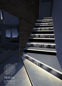 Escada | Iluminação | There is no elevator to success, you have to take the stairs.