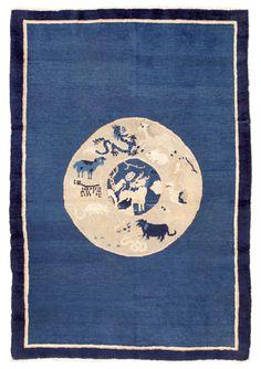 Antique Chinese Rug, Antique Chinese Carpet, Zodiac Rug, by Nazmiyal