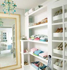 Well-thought-out shelving can give your closet or dressing room extra glamour and valuable storage for sweaters, shoes, and accessories.