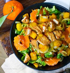 Spicy BBQ Chick'n Salad. Butternut Cubes. Sizzling Onions. Citrus.
