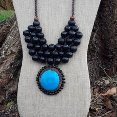 Necklace and Earrings Wooden Beads Black and Tagua Blue-min