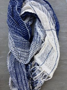 organic indigo hand-spun cotton shawl