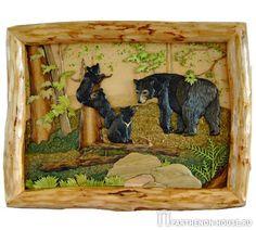 Панно дерево: Медвежье семейство - техника интарсия.