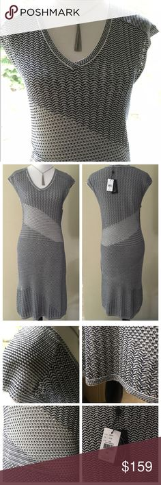 "Magaschoni asymmetrical knit dress Beautifully detailed navy and white mixed open knit dress from Magaschoni. Fully lined with a solid white knit underneath. Diagonal knit patterns alternate throughout. V-neck, arms and hem have contrasting knit trim. Beautiful weight and stretch to this knit. Subtle hi low hem enhances the drape of the knit. Approx. 40"" long with a 3"" drop to back hem. Magaschoni Dresses"