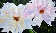 It Takes Two by Brian Wyers, Oil on Canvas, Painting Oil Painting Flowers, Floral Paintings, Oil On Canvas, Canvas Art, Painting Techniques, Watercolor Techniques, It Takes Two, Large Flowers, Pictures To Paint