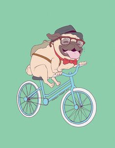 Hipster Pug  Digital Print by maureencreatesshop on Etsy
