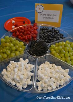 For a science party. Make your own molecules - I like this twist on the fruit molecules that makes it even easier on the hostess and the kids have fun, too!