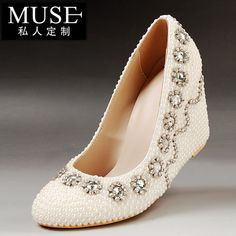 139.90$  Watch here - http://ali5sb.worldwells.pw/go.php?t=32257847046 - Free Shippig 33 34-41 Women Genuine leather white pearl rhinestone wedding shoes wedges high-heeled shoes Bridal Prom Pumps 3 10 139.90$