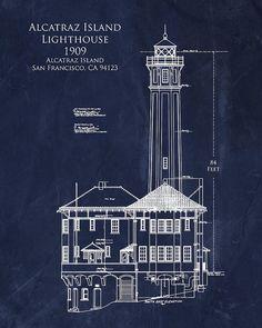 Eiffel tower architectural blueprints art 8 x 10 by scarletblvd alcatraz island lighthouse art print by sara h malvernweather Gallery