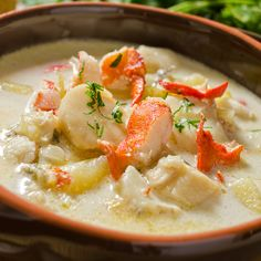 A seafood chowder recipe packed with goodness, a meal in itself.. Seafood Chowder Recipe from Grandmothers Kitchen.