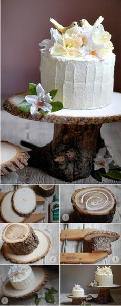 Super easy cakestand that has that trendy organic look. @ http://blog.nextdayflyers.com/10-best-do-it-yourself-wedding-decoration-ideas-ceremony-reception/
