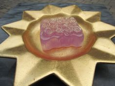 Soap With Roses  Design Handmade Pink Glycerin  by 5thAveSoaps