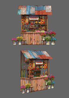 Installation art design for Penang Amazing World Environment Concept Art, Environment Design, Watercolor Illustration, Watercolor Art, Building Illustration, Prop Design, House Drawing, Environmental Art, Installation Art