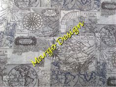 Cotton quilting fabric patchwork  Map by MargoCreative on Etsy, € 11,80 / meter
