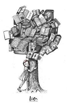 a book tree illustration Tattoo Buch, Book Tattoo, Tattoo Quotes, I Love Books, Books To Read, My Books, Book Tree, World Of Books, I Love Reading