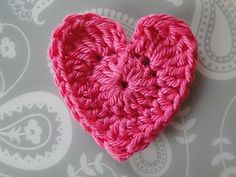 This basic heart starts with a magic ring and is worked in two rounds, using a variety of stitches. I think cotton works very well with this kind of pattern, but you can use any kind of yarn in any weight you like!