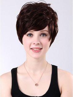 Black Short Wavy Human Hair Wigs