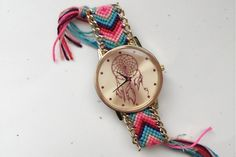 """""""Dreamcatcher"""" macrame watch - pinning this because I like the idea and want to make something similar, with a diff patterned macrame & colors"""