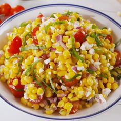 The quintessential summer salad. #easyrecipe #corn #summer #sidedish #salad