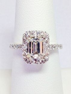 1.00CT Diamond Emerald Cut Halo Engagement Ring Anniversary Band Wedding Bands Rings Diamonds Platinum, 18K, 14K White, Yellow, Rose Gold by FineJewlers on Etsy