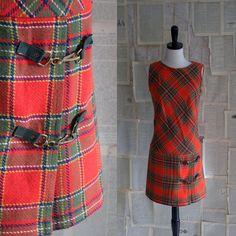 1960s Red Wool Plaid Tartan Mini Dress $48.00