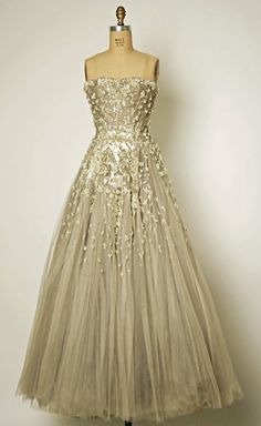 CLASSIC dress by Christian Dior - designed for fall/winter 1954-55 - made out of silk, simulated pearls, beads, sequins, rhinestones - GORGEOUS