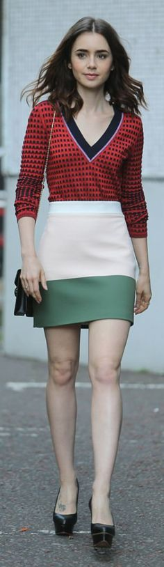 Lily Collins in Sweater – Diane von Furstenberg Skirt – By Johnny Purse – Bulgari Shoes – Charlotte Olympia Celebrity Style Casual, Celebrity Outfits, Celebrity Crush, Lily Collins, Black Platform, Platform Pumps, Star Fashion, Fashion Beauty, Womens Fashion
